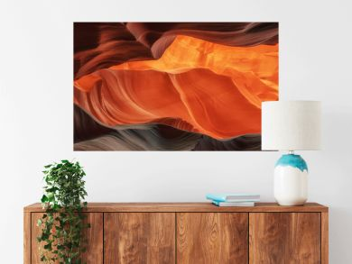 Panoramic and glowing rocks in Canyon Antelope, Arizona. Abstract background.