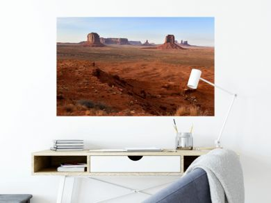 The Red rock desert landscape of Monument Valley, Navajo Tribal Park in the southwest USA in Arizona and Utah, America
