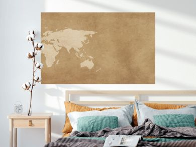 World map on vintage background banner