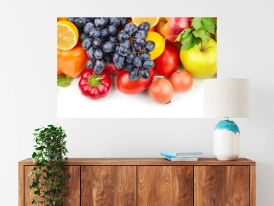 Fruits and vegetables isolated on white background. Wide photo.