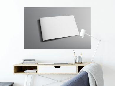 3D Blank Landscape Brochure Or Magazine On Gray