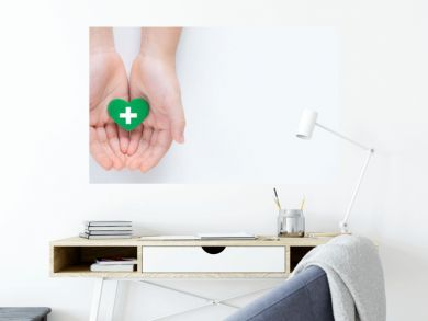 Hands holding a beautiful green heart with hospital white cross symbol on it showing a concept of Health care service, cancer treatment and heart surgery. Banner top view Isolated on white background.