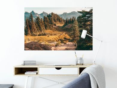 mountains with pine trees