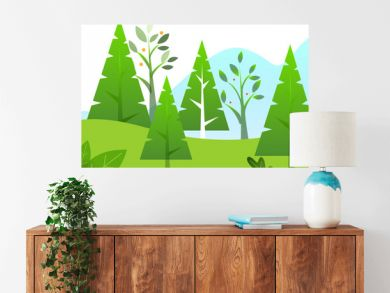 Green trees like firs and oaks, grass in park or lawn. Spring or summer warm weather. Fresh vector leaves bloom on branches. Greenery in countryside on daytime. Beautiful landscape illustration