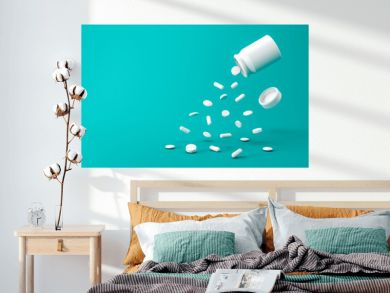 White pills bottle of aspirin tablets on green background with pharmacy and splashing concept. White capsule or drugs. 3D rendering.