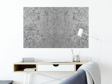 Old gray vintage shabby patchwork motif tiles stone concrete cement wall texture background banner
