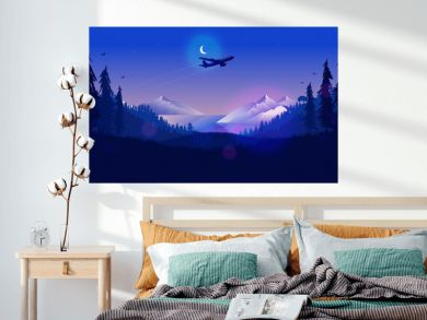 Plane in night sky - Airplane flying over a northern landscape at nighttime with half moon, mountains, ocean and forest. Traveling, vacation, going far away concept. Vector illustration.