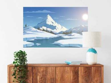 Winter day landscape with mountains