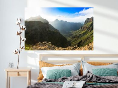 wonderful nature of volcanic Tenerife island. Mountain road near Masca village. Canary islands of Spain