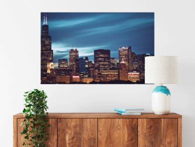 Famous panoramic view of Chicago skyline by night