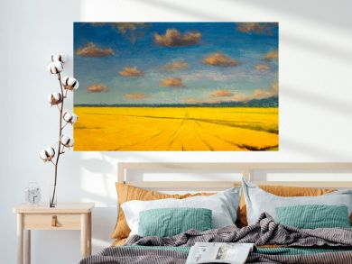 Watercolor painting with acrylic oil from artist, yellow field of ripe ears, rural landscape, farming, food cultivation, agriculture, warm summer landscape.