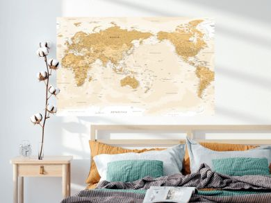 World Map - Pacific China Asia Centered View - Vintage Golden Political - Vector Detailed Illustration
