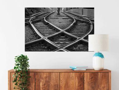 Railroad Tracks At Junction