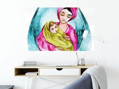 Watercolor illustration depicting a mother with a tiny child.