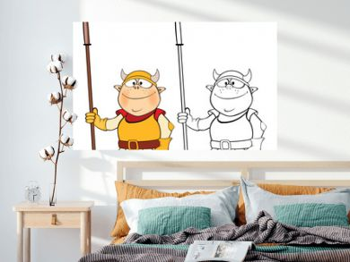 Vector Illustration of a Cute Cartoon Character  Knight for you Design and Computer Game. Coloring Book Outline Set