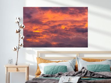 red sky with clouds