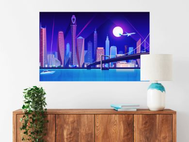 City bridge over water bay at night vector illustration. Cartoon flat modern bridge to downtown futuristic neon metropolis, downtown cityscape waterfront buildings, tower skyscrapers landscape view