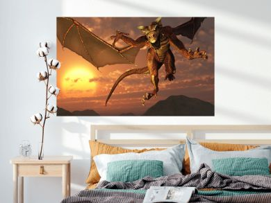 3D render of a dragon flying at sunset.