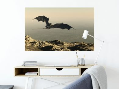 Dragon Flying over a Mountain Cliff