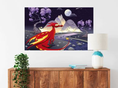 Dragon in the night. Vector illustration, isolated objects.