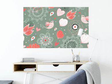 Seamless floral pattern with birds in love