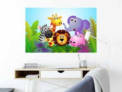 Cute animal cartoon in the jungle