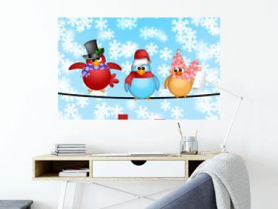 Three Birds on a Wire with City Skyline Christmas Scene