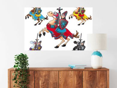 Knight and horse. Cartoon vector isolated characters