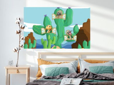 various animals and cactus
