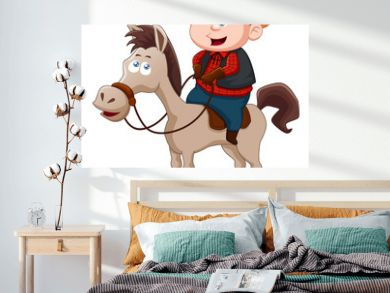 Little Cowboy riding horse vector