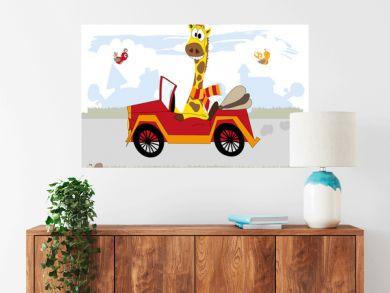 Happy giraffe in the car