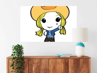Blond cowgirl cartoon