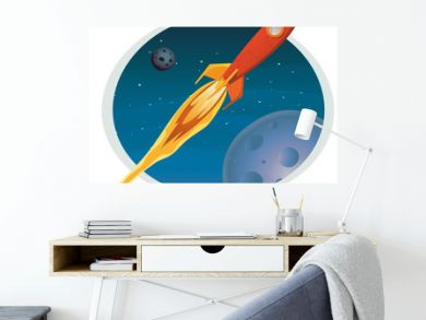 Spaceship Flying Through Space Banner