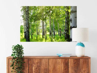 summer birch woods with sun