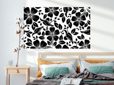 Seamless pattern with flowers and leaves. Vector illustration.