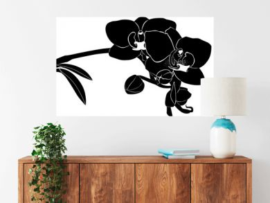 orchid flower twig vector isolated on white background