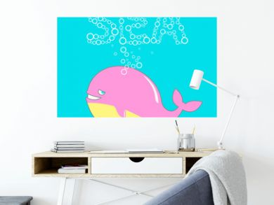 cute whale and bubbles