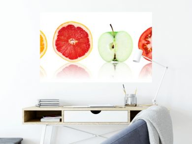 Collection of fresh fruit and vegetable slices