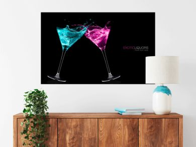 Exotic Liquors. Stemmed cocktail glasses making a toast splashin