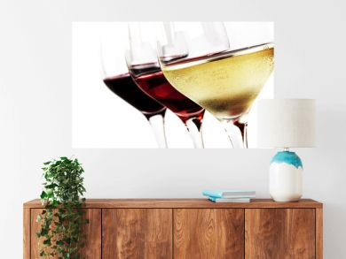 Wine Glasses over White