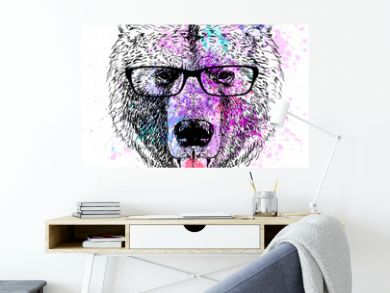 bear character colorful portrait