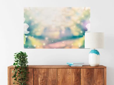 Spring blossom over blurred nature background with sunshine, banner. Retro toned