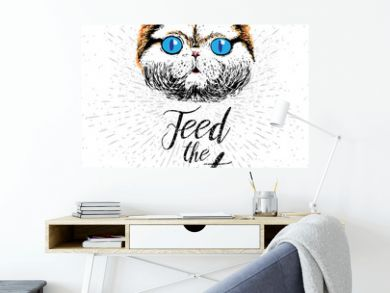 Feed the cat. Vector illustration with hand drawn lettering on texture background. Inscriptions for pet lovers. Painted brush lettering. Custom typography. Calligraphic. Poster with demanding phrase.
