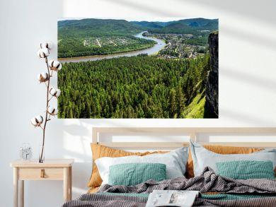 Panoramic views of the river Irkut