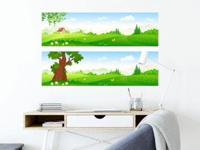 Cartoon landscape banners