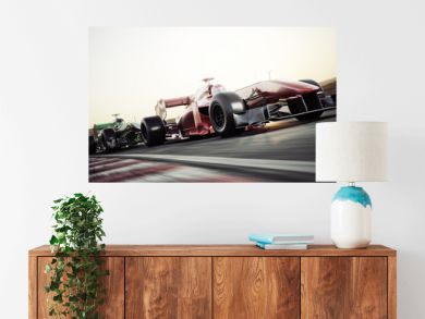 Motor sports competitive team racing. Fast moving race cars racing down the track . 3d rendering. With room for text or copy space