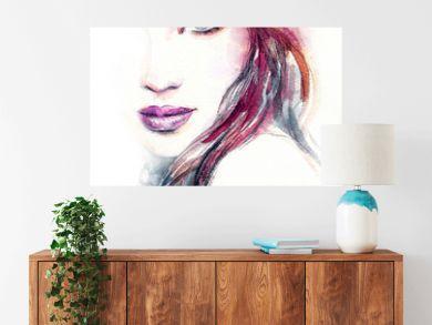 Woman portrait. Fashion illustration. Watercolor painting