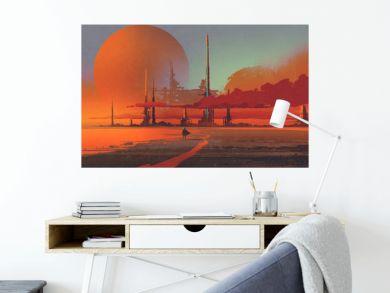 sci-fi contruction in the desert,illustration digital painting