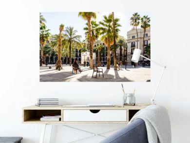 Park mit Palmen in Barcelona, Spanien