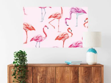 Flamingo seamless pattern pink background